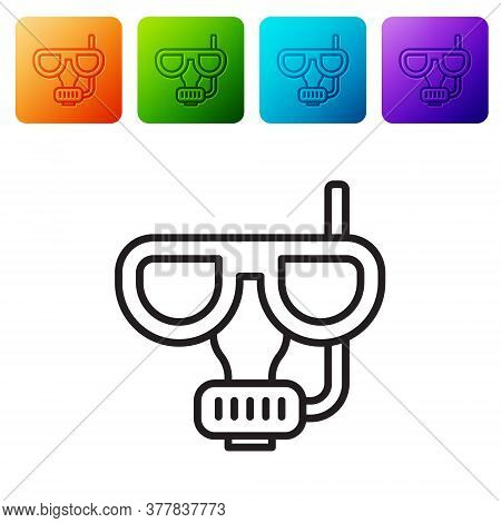 Black Line Diving Mask And Snorkel Icon Isolated On White Background. Extreme Sport. Diving Underwat