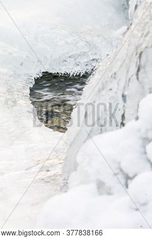 Winter Landscape With Frozen Waterfall. High Quality Photo