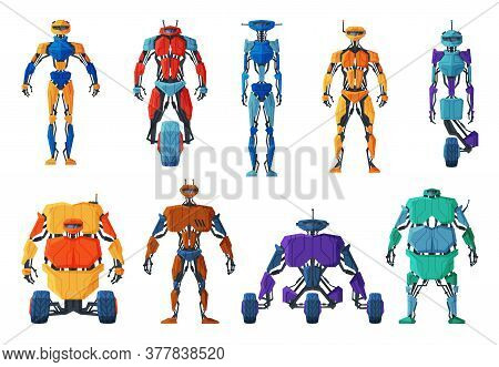 Modern Robots Set, Android Future Robotic Technology, Cybernetic Artificial Intelligence Machine Vec