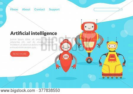 Artificial Intelligence Landing Page Template With Cute Friendly Android Robots, Robotic Technology,