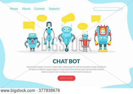 Chat Bot Landing Page Template, Cute Friendly Android Robots, Artificial Intelligence, Robotic Techn