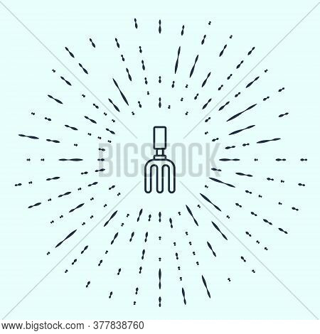 Black Line Garden Rake Icon Isolated On Grey Background. Tool For Horticulture, Agriculture, Farming