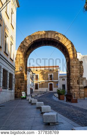 Merida, Spain - November 05, 2019: Arch Of Trajan In Merida, Extremadura In Spain.