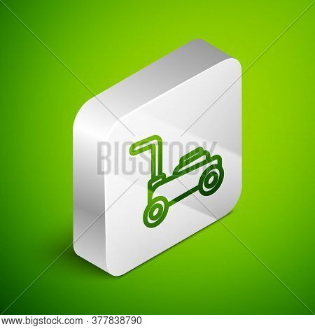 Isometric Line Lawn Mower Icon Isolated On Green Background. Lawn Mower Cutting Grass. Silver Square