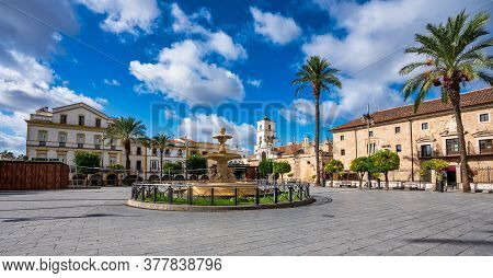 Merida, Spain - November 11, 2019: Square Of Spain, Plaza De Espana With The Town Hall At Background