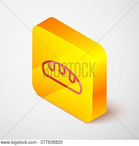 Isometric Line Bread Loaf Icon Isolated On Grey Background. Yellow Square Button. Vector