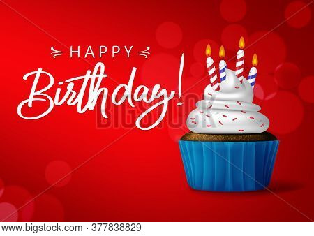 Birthday Cupcake Vector Background Banner Design. Happy Birthday Typography In Red Empty Space For M