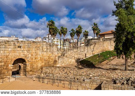Merida, Spain - November 05, 2019: Arab Fortress Alcazaba Near Guadiana River In Merida, Spain, Regi