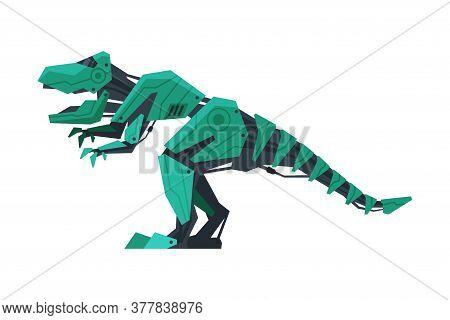 Dinosaur Prehistoric Animal Robot, Artificial Intelligence Robotic Animal Vector Illustration On Whi
