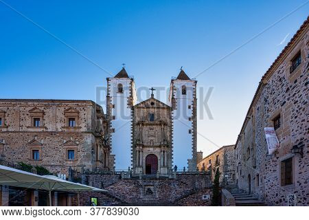 Caceres, Spain - November 08, 2019: San Francisco Javier Church Built In Baroque Style And Located I
