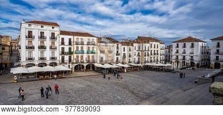 Caceres, Spain - November 09, 2019: Plaza Mayor, Main Square With Shops, Cafes And Restaurants In Ca