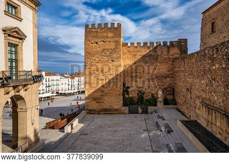 Caceres, Spain - November 09, 2019: Ancient Medieval Tower Known As Torre Del Horno, Located In The