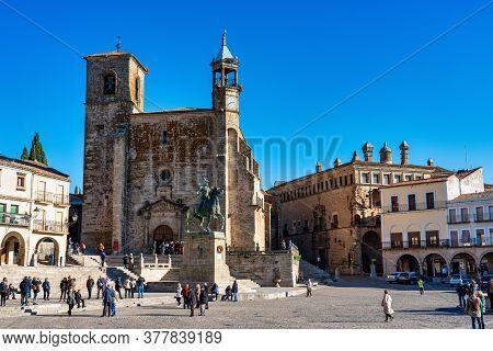Trujillo, Spain - November 13, 2019: San Martin Church At The Plaza Mayor, Main Square Of Trujillo.