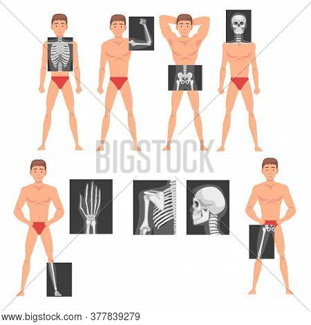 Young Man Standing In Undershorts With His Skeleton X-ray Presented On Monitor Vector Set