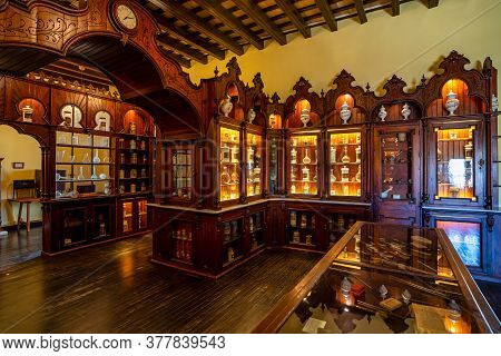 Jerez De La Frontera, Spain - Nov 15, 2019: The Villavicencio Palace Of Alcazar With Its Wooden Inte