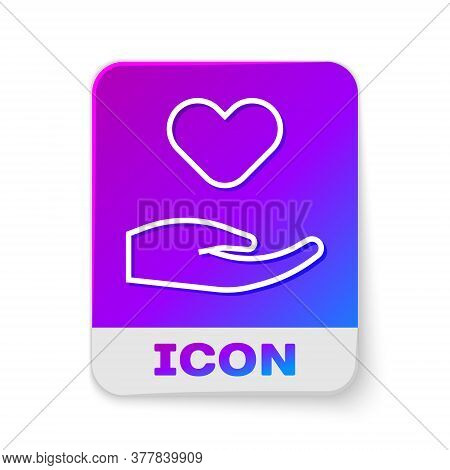 White Line Heart In Hand Icon Isolated On White Background. Hand Giving Love Symbol. Valentines Day