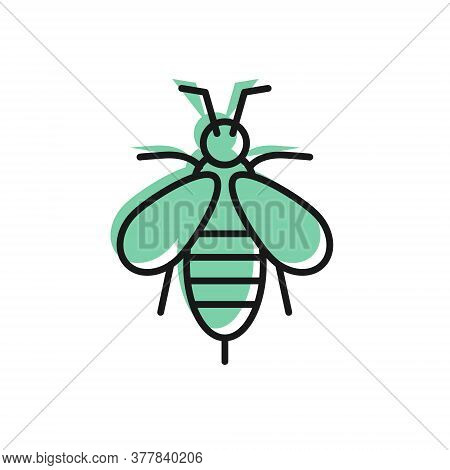 Black Line Bee Icon Isolated On White Background. Sweet Natural Food. Honeybee Or Apis With Wings Sy