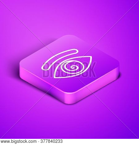 Isometric Line Hypnosis Icon Isolated On Purple Background. Human Eye With Spiral Hypnotic Iris. Pur