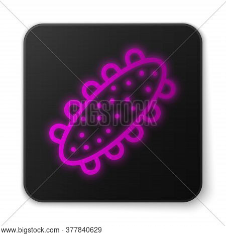 Glowing Neon Line Sea Cucumber Icon Isolated On White Background. Marine Food. Black Square Button.