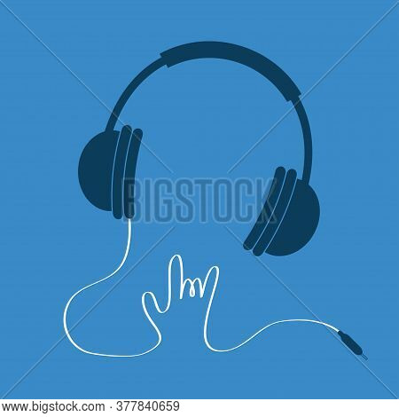 Black Headphones With White Cord In Shape Of Hand. Rock And Roll Sign. Music Card Icon. Flat Design