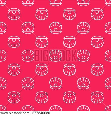 White Line Natural Open Shell With Pearl Icon Isolated Seamless Pattern On Red Background. Scallop S