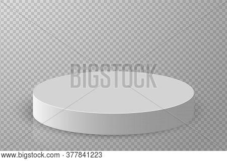 3d Podium. Pedestal Platform Or Showroom Stand. White Round Studio Stage Platform. Empty Arena.