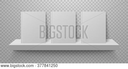 Book Mockup On Bookshelf. Bestsellers In Hard Cover On Shelf. Bookstore Display. Realistic Mock Up D