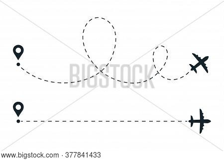 Plane Travel Line. Flight Route Path. Aircraft Fly Trace. Airplane Silhouette