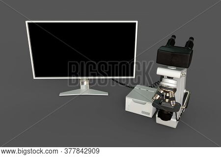 White Electronic Microscope, Cpu Block And Blank Display Isolated, Photorealistic Medical 3d Illustr