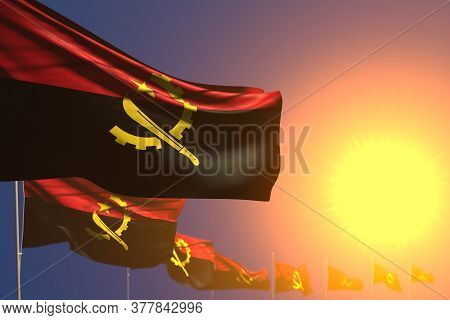 Nice Celebration Flag 3d Illustration  - Many Angola Flags On Sunset Placed Diagonal With Soft Focus