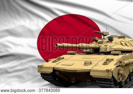 Japan Modern Tank With Not Real Design On The Flag Background - Tank Army Forces Concept, Military 3