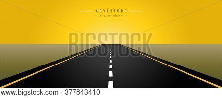 Asphalt Road Yellow Sunrise Vector Illustration Eps10