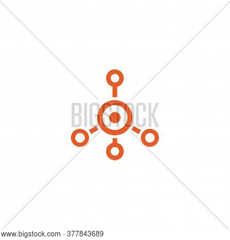 Red Hub Network Connection Line Icon Isolated On White. Tech Or Technology Logo.