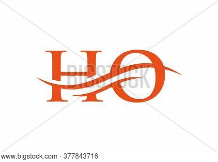 Ho Letter Linked Logo For Business And Company Identity. Water Wave Ho Logo Vector. Swoosh Letter Ho