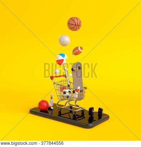 Online Shopping Concept On Smartphone On Yellow Background. Online Shopping Sports Equipment. 3d Ren