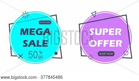 Set Of Trendy Flat Geometric Vector Banners. Vivid Transparent Banners In Retro Poster Design Style.