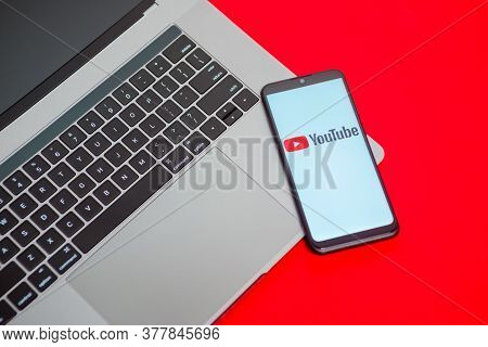 Tula, Russia - May 18,2020: Modern Smartphone With Youtube Logo On The Screen.