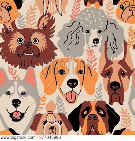 Seamless Pattern With Dog Faces And Plants. Funny Husky, Beagle, Mastiff,  Pug, Poodle, Shi Tsu, Sai