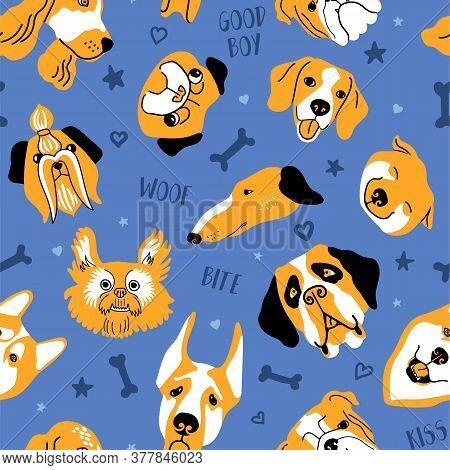 Seamless Pattern With Dog Faces. Funny Spaniel, Husky, Beagleб Bulldog, Mastiff, Shiba Inu, Pug, Gre