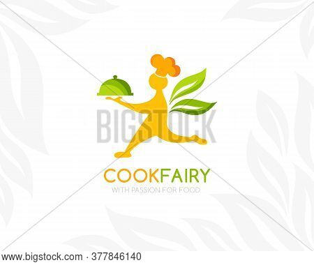 Catering Logo Template. Cook With Food Tray And Leaf Wings. Conceptual Icon For Restaurant Menu, Veg