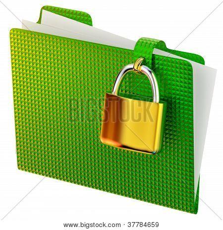 green folder with lock
