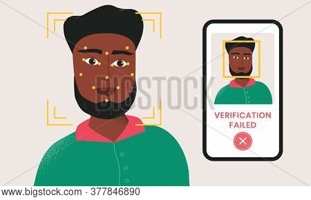 Man Being Checked Via Smartphone Face Identification Technology And The Verification Is Failed. Faci