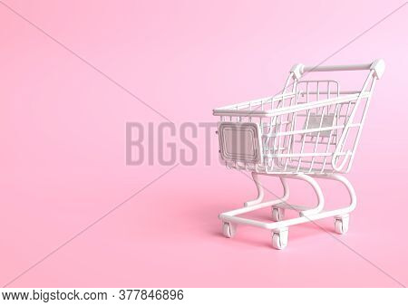 Shopping Cart On A Pink Background. Shopping Trolley. Grocery Push Cart. Minimalist Concept, Isolate
