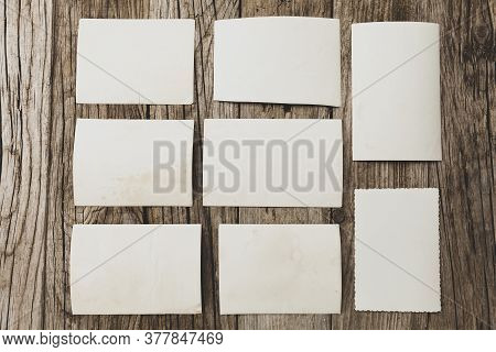 Old Vintage Photo Template (mockup) On Wooden Background. Empty Retro Card, Textured Paper.