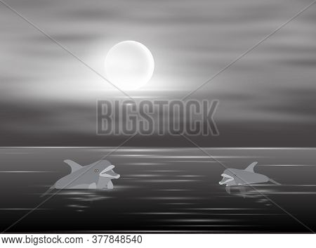 Two Dolphins Swim In The Water In The Moonlight, Vector Illustration
