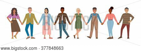 Smiling Men And Women Holding Hands. Happy People Standing In Row Together. Concept Of Happiness And