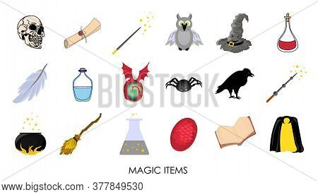 Magic Stickers. Collection Of Mystical Magic Items. Vector Illustration.