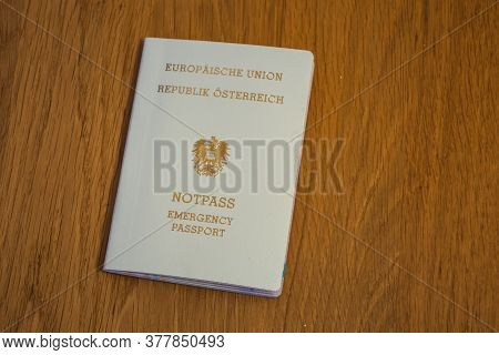 European Emergency Passport Of The Republic Of Austria - Cream Colored Travel Document Of The Eu Or