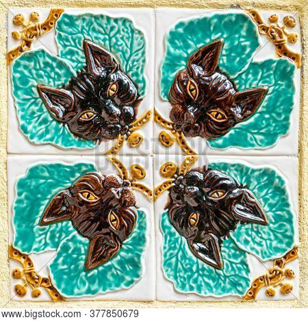 Caldas Da Rainha, Portugal - Circa July 2020: Detail Of Four Bordalo Pinheiro Tiles. Bordalo Pinheir