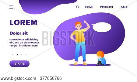 Angry Father Scolding His Little Son. Dad, Kid, Crying Flat Vector Illustration. Annoyance And Paren